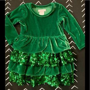 CHASING FIREFLIES VELOUR SEQUIN GREEN RUFFLE DRESS